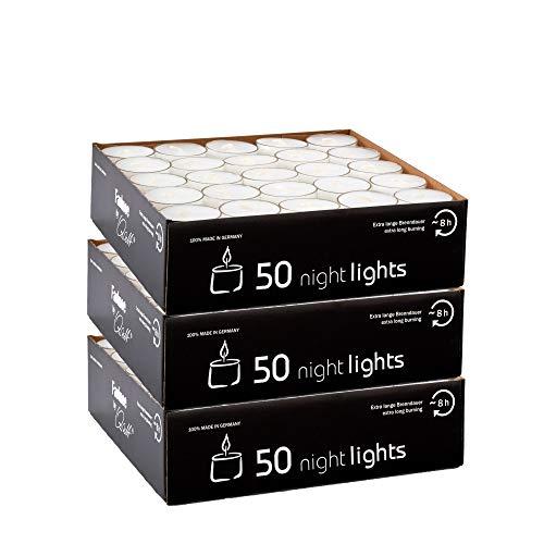 Qult Farluce(TM) Nightlights weiß - Teelichter in Kunststoffhülle und Premiumqualität - Rußfrei - ca. 8 Stunden Brenndauer - Gastro Großpackung - Sparpack - unbeduftet, Teelichter:150 Nightlights