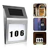 Yunhany Direct Solar House Door Number Powered Led Illuminated Light,LED Doorplate Number Wall Plaque Doorplate