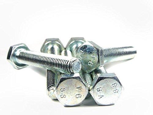DIN 933 / ISO 4017 PROFI Sechskant Schraube Vollgewinde Güte 8.8 verzinkt Stahl gehärtet DIN933 PROFI 6kt VGW G8.8 VZ SGH - M8 x 80 - (20 Stück)