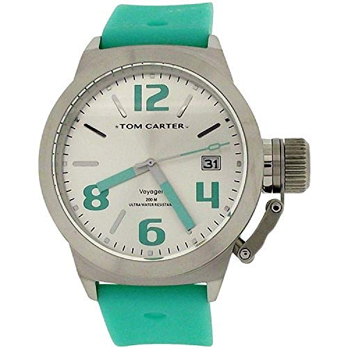 Tom Carter Unisex White Dial, Date Stainless Steel Teal Silicone Strap Watch