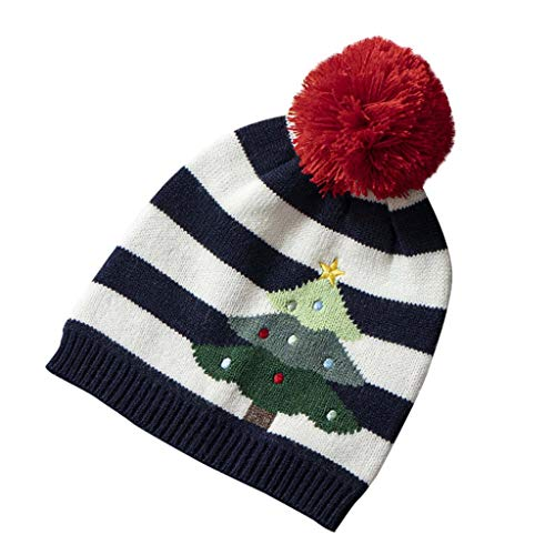 Dmdzw Christmas Hat 1-5 Age Unisex Children Santa Christmas Tree Winter Christmas Matching Color Knitting Warm Hat Navy