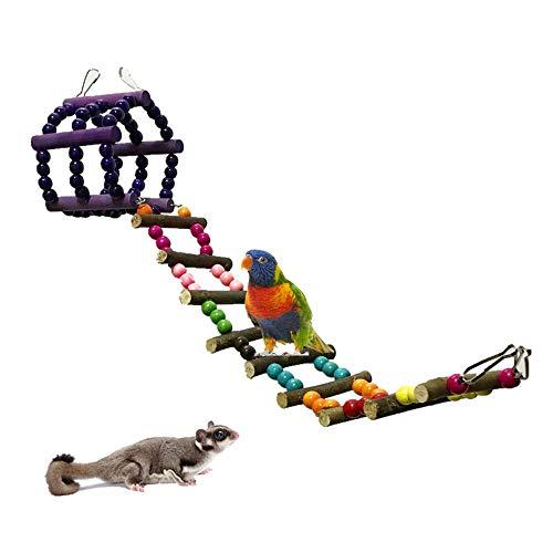 Hitasi ペットバードオウム玩具 クライミングラダーオウムハムスターログスイング 吊り橋玩具 立ち鳥咀嚼玩具 小動物 遊び場 おもちゃ 運動不足解消