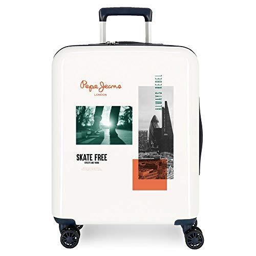 Pepe Jeans Nolan White Cabin Suitcase 40 x 55 x 20 cm ABS Rigid Closure TSA Integrated 38.4 L 2 kg 4 Wheels Double Hand Luggage