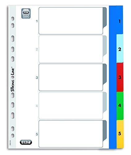 Elba 100205096 Kunststoff-Register Strong-Line Zahlen 1-5, A4, XL, 5-teilig
