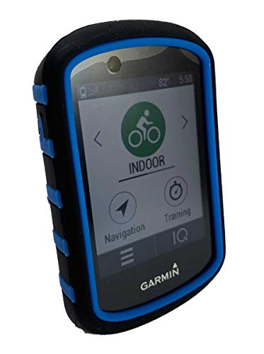 TUFF LUV Silicone Twin Dual layer Double Protective Skin Case for Garmin Edge 530 - Black/Blue