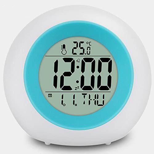 WPL Thermomètre Thermomètre Alarme coloré Lumineux Horloge Thermomètre Intelligent électronique Silencieux Lumineux Lazy Automatique Réveil étudiant Photosensitive Horloge Higrómetro