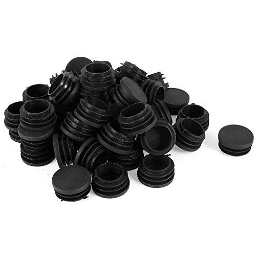 Sourcingmap 50Pièces 32mm de diamètre en Plastique Rond Embouts Patins Pieds de Meubles Tube pour tuyaux