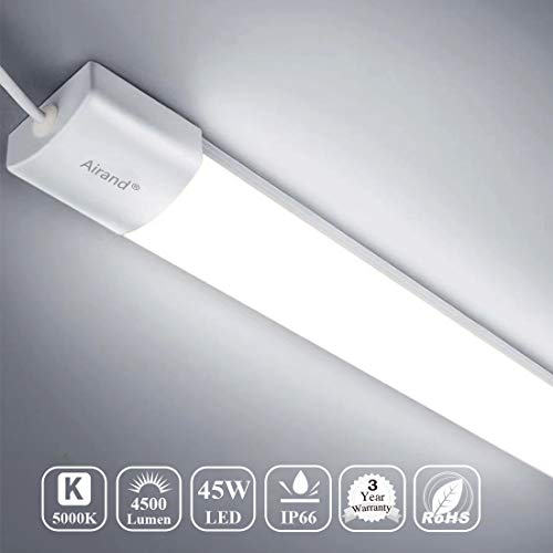 Airand 45W LED Wraparound Ceiling Light LED Garage Light Fixture 5FT Flushmount LED Tube Light for Garage, Shop, Cabinet, Attic, Basement, Home, shoplight (Daylight White)