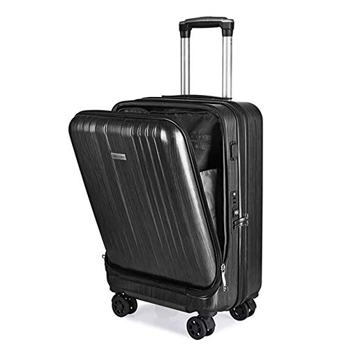 ADDG Travel Suitcase,New Cabin Rolling Luggage with Laptop bag, Trolley suitcase with Charging USB,Black