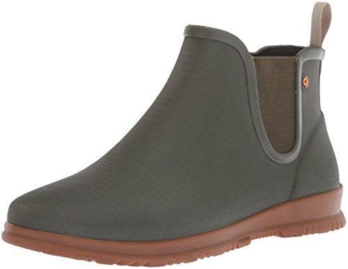 BOGS Women's Sweetpea Ankle Height Waterproof Rubber Rain Boot, Sage, 8 M US