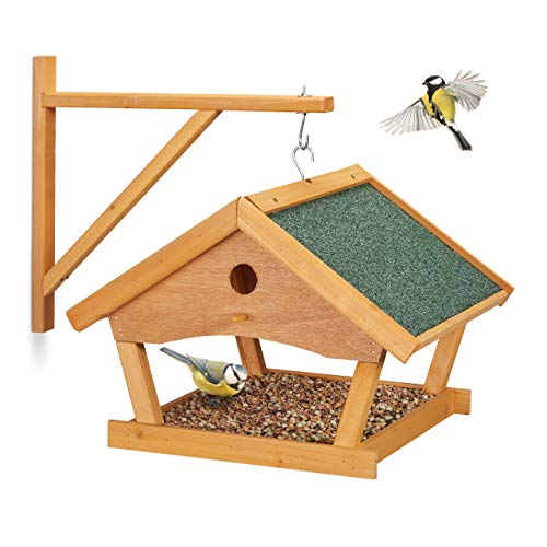 Relaxdays Vogelfutterhaus Holz, zum Aufhängen, HBT: 35x42,5x40,5 cm, Garten, Vogelfutterspender für Kleinvögel, Natur