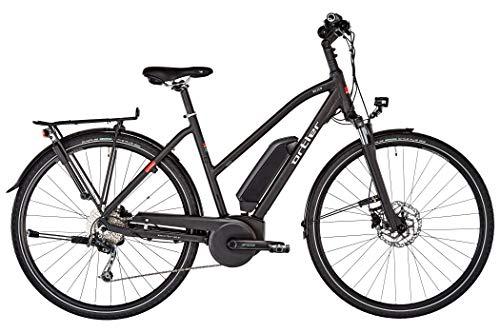 Bicicleta de trekking eléctrica para mujer Trapez 2019 de ORTLER Bozen, color negro mate