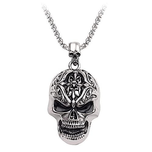 Collar de calavera Punk aterrador Hip-Hop Dios Muerte cadena gótica antigua Collar masculino joyería encanto masculino para regalo de motocicleta de baile callejero