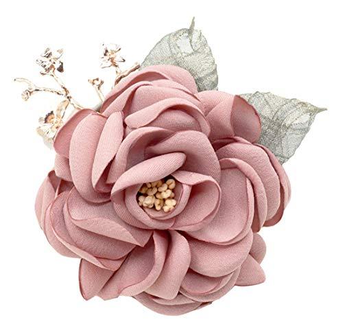 Cheerlife Fashion Elegant Haarclip Haarklipp Blumen Haarklammer Haarspange Ansteckblume Brosche Corsage Blumen Haarschmuck Rosa