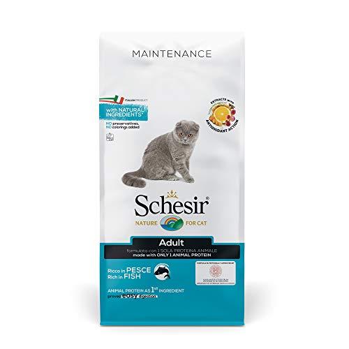 Schesir, Cibo Secco per Gatti Adulti Linea Mantenimento Ricco in Pesce, Crocchette - Formato Sacco da 10 kg