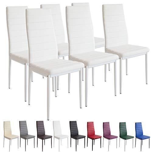 Albatros 2699 MILANO Set de 6 sillas de comedor, Blanco