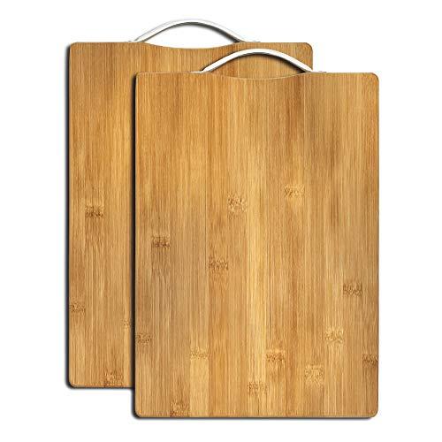 vendify 2X Schneidebrett Bambus hochwertig, 34 x 24 x 1,8 cm Hackbrett Brotbrett Küchenbrett, groß dick pflegeleicht, antiseptisches Holzbrett mit Griff