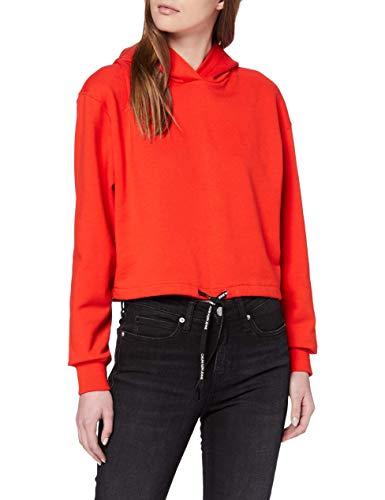 Calvin Klein Jeans Damen Branded Draw Cords Hoodie Sweatshirt, Rot (Fiery Red Xa7), 36 (Herstellergröße: Medium)