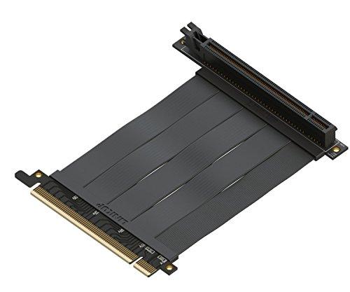 LINKUP - {10 cm} 16x Riser Kabel Super Abgeschirmt Twinaxial PCI Express Steigleitung Kabel Portverlängerungs-Platte 2020 Rev | 90 Grad Buchse