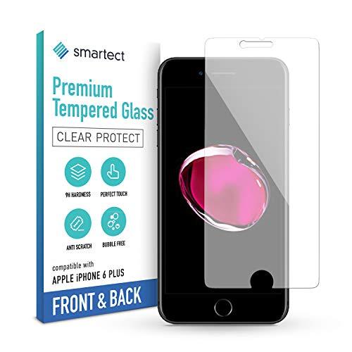 smartect Beschermglas compatibel met Apple iPhone 6 Plus / 6s Plus [Voorkant en achterkant] - Screen protector met 9H hardheid - Bubbelvrije beschermlaag - Antivingerafdruk kogelvrije glasfolie