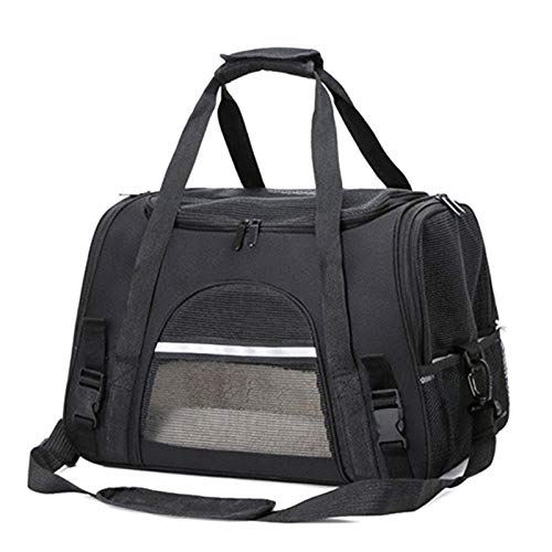 AKlamater Pet Carrier Airline Approved Bag Portable Collapsible Mesh Breathable Go Out Messenger Car Pet Bag For Small Puppy Dogs Cats Travel(Black)