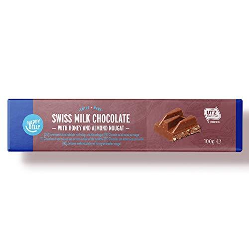 Marca Amazon - Happy Belly Chocolate con leche suizo con turrón 100g x 15