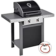 Jamie Oliver Gasgrill HOME 2 |Zweiflammiger Premium BBQ Grillwagen mit Thermometer & einklappbaren Seitenablagen - Barbecue mit robusten gusseisernen Rost & Warmhaltefläche