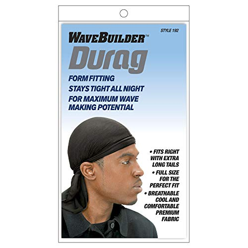Wavebuilder Wave Builder Du-Rag with Extra Long Tails Black (Model: 192) by