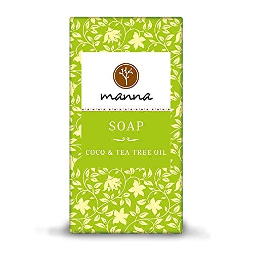 Manna Seife | Gegen fettige Haut und Pickel | COCO Seife mit Teebaumöl | 90 g | sanfte Hautpflege, Seife zur Pickelbehandlung | 100% natürliche Inhaltsstoffe, Vegan, Palmölfrei, Tierversuchsfreiheit