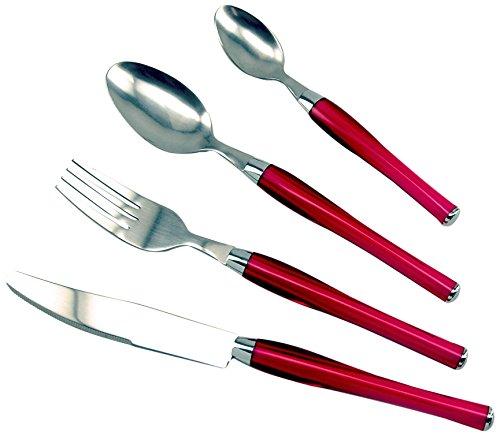 LISA DALBAN 446664 MANGO Ménagère avec 24 Pièces Acier Inoxydable Rouge 26,4 x 13,9 x 6,4 cm