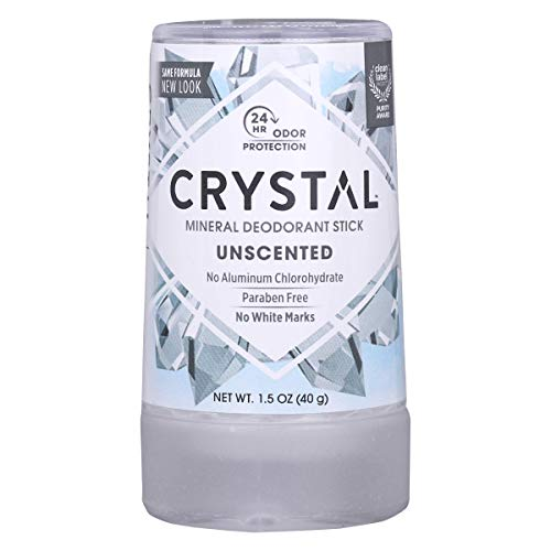 CRYSTAL Mineral Deodorant Stick- Unscented Body Deodorant With 24-Hour Odor Protection, Non-Staining & Non-Sticky, Travel Size Deodorant, Aluminium Chloride & Paraben Free, 1.5 FL OZ