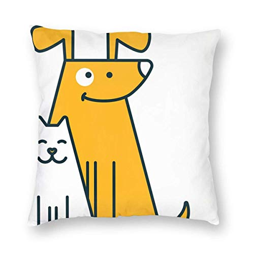 AEMAPE Throw Pillow Covers, Cartoon Cat and Dog Decorative Square Throw Pillow Covers Soft Soild Cushion Cases for Sofa Bed Chair,18x18 in