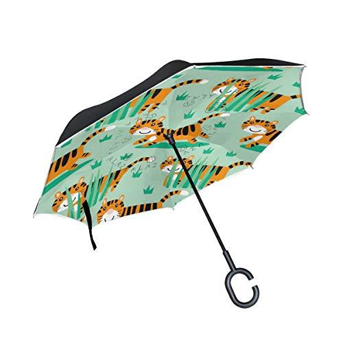 Paraguas de Patio a Prueba de Viento con Mango en Forma de C Tigre de Dibujos Animados Pastizales Paraguas al Aire Libre Paraguas inverso de Ciudad para Coche