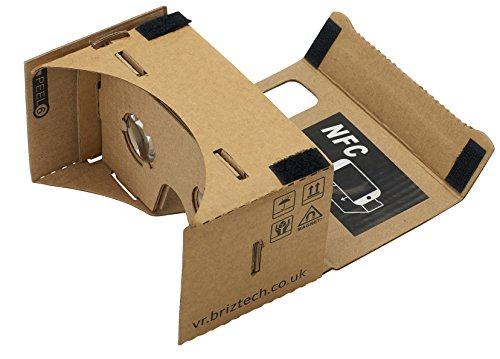 Google Cardboard 45mm Focal Length Virtual Reality Headset - With Free NFC Tag & Headstrap (Brown)
