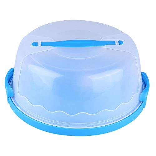 Phisscii Cake Box-Portátil Redondo Transparente Portador de Pastel Contenedor de Almacenamiento Servidor con Cierre Manija de la Tapa 10 Pulgadas Azul