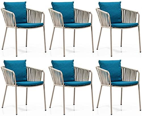 Casa Padrino Conjunto de sillas de jardín de Lujo Azul/Gris/Beige 50 x 45 x A. 73 cm - Sillas de jardín Modernas con reposabrazos - Muebles de Jardín y Gastronomía