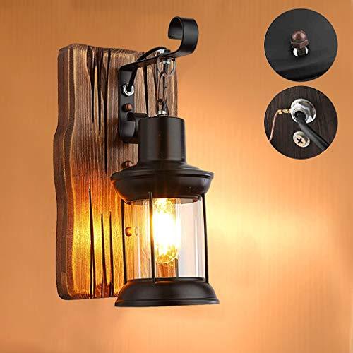 Wandleuchte Single Head Industrie Vintage E27 Retro Holz Metall Loft Wandlampe Glasschirm Malerei Farbe Wandleuchte für Restaurant Eingang Bar Cafe Gang Korridor Schlafzimmer Wandlampe, 1xE27