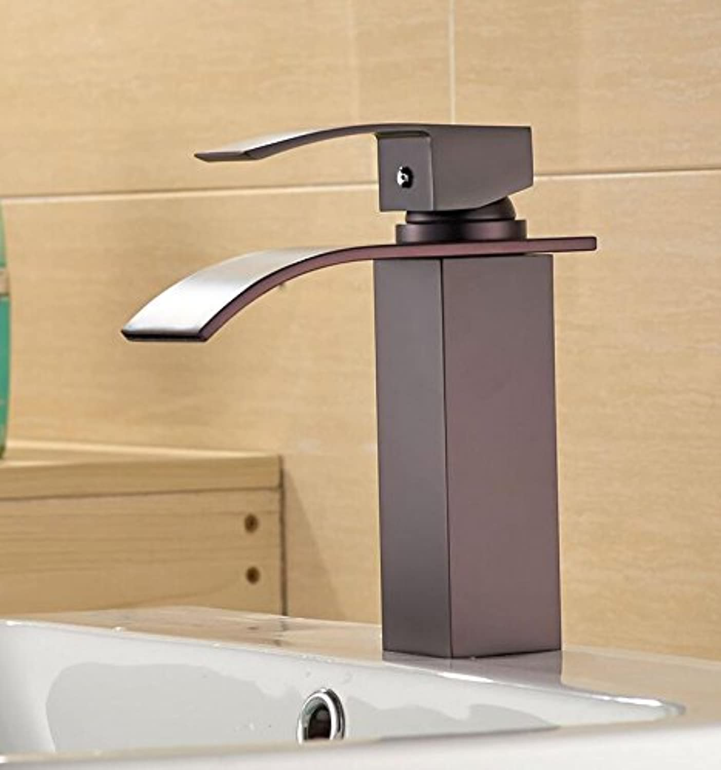 Makej Waterfall Basin Faucet Brass Deck Mounted Wash Face Sink Taps Water Mixer Bathroom Toilet Basin Faucets
