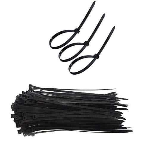 Secwell 150pcs Colliers Nylon de Serrage de Noir 400 mm x 7,6 mm Colliers Plastique Serrage Serres Cables Nylon Autobloquantes pour la Maison le Bureau l'atelier