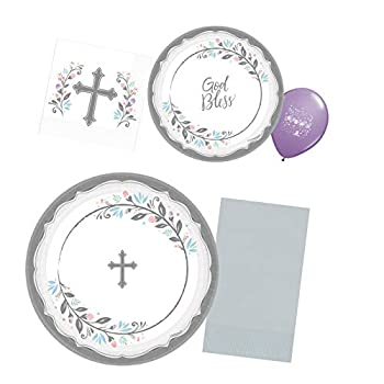Religious Party Plates and Napkins Set for 36- Paper Party Supply Decorations for Baptism Easter First Communion Christening