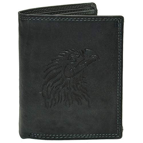 Hochwertige Geldbörse Geldbeutel Portemonnaie Büffel Leder Adler geprägt RFID Schutz Grau