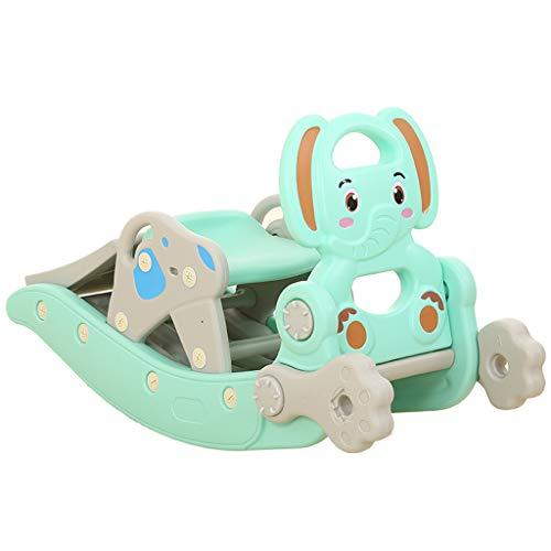 Cheval à Bascule glissière Enfants Cheval à Bascule Combinaison Deux en Un bébé âge Cadeau Grand épaississement 1-6 Ans Chaise à Bascule Cheval en Bois (Couleur : Vert)