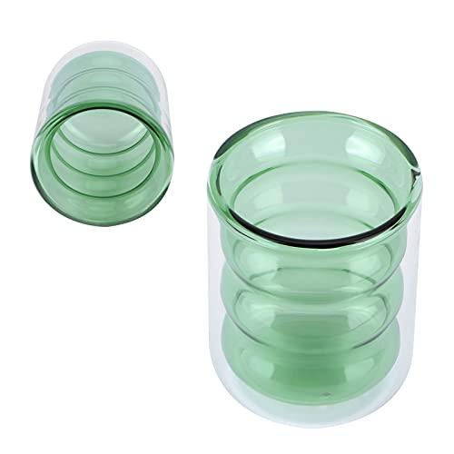 Taza de vidrio, taza decorativa para beber de 200 ml, tamaño pequeño con filtro para bebidas frías para café(Green bamboo double cup)