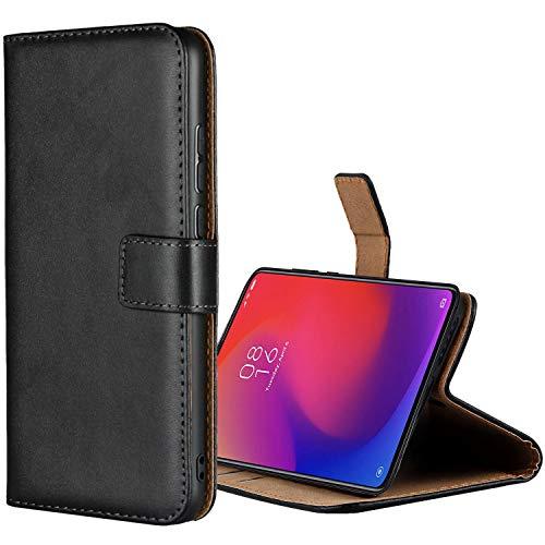Aopan Xiaomi Mi 9T Pro Hülle, Flip Echt Ledertasche Handyhülle Brieftasche Schutzhülle für Xiaomi Mi 9T Pro, Schwarz
