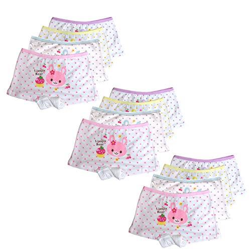 ussense 12er Pack Kinder Mädchen Unterhosen- Sportliche Mädchen Pantys Hipster Shorts Slips Schlüpfer Süß Unterwäsche Größe 2-12 Jahre(1-3Jahre,2090S)
