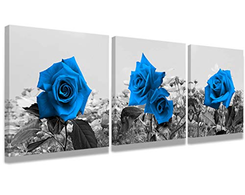 Price comparison product image Modern wall art painting bedroom decor blue rose landscape picture printed on canvas - Giclee artist home decor art wall decoration and office decoration 3 panel stretch and frame ready to hang
