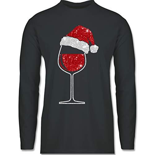 Weihnachten & Silvester - Weinglas mit Weihnachtsmütze - S - Dunkelgrau - Weihnachten weingläser - BCTU005 - Herren Langarmshirt