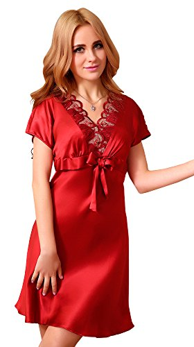(MAYUDAMAシルク)高級厚手シルク100% シルク パジャマ ネグリジェ ナイトガウン ルームウェア ルームワンピース Vネック エレガント レース装飾 かわいい胸元リボン レディース 選べるサイズ・カラー (XL, ローズ)