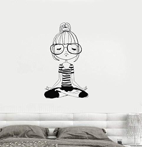 Yoga Meditation Niedlichen Teenager Mädchen Zimmer Zen Schwarz Wandaufkleber Wohnkultur Wohnzimmer Wandbild Kunst Poster Kunst Aufkleber 56 * 96 Cm