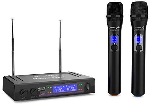 Audibax - Missouri 2000 - Micrófono de Mano Inalámbrico VHF Doble - Set de 2 Micrófonos de Mano con Display - Rango de Cobertura 80 metros - Interruptor On/Off y Mute - Rango B - Pilas Tipo AA - 230 V